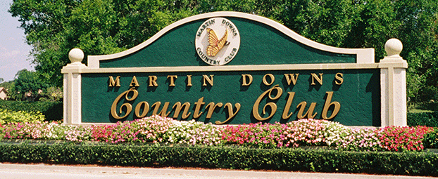 Martin Downs sign at security entrance of Charter Club.