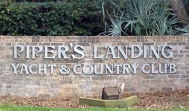 Pipers Landing Entrance Marker in Palm City, Florida.