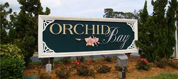 Orchid Bay Entrance Marker in Palm City, Florida.