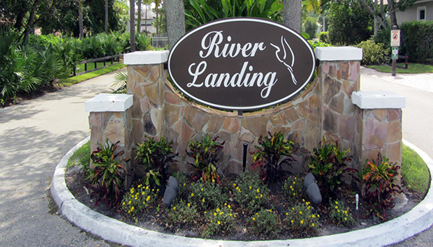 River Landing Entrance Marker in Palm City, Florida.